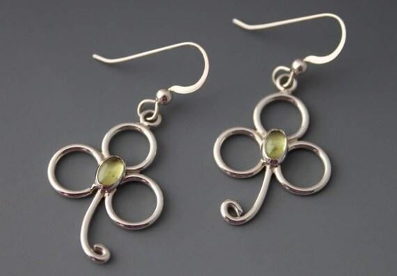Sterling and Peridot Shamrock Earrings, Luck of The Irish