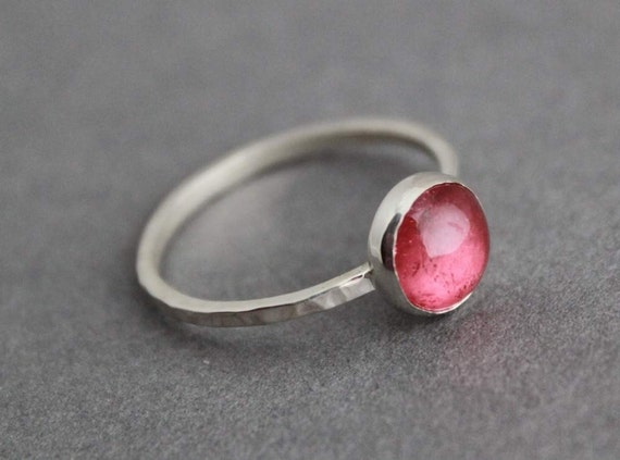 Sterling and Apricot Tourmaline Ring, Size 8.5 US/Canada, Handmade