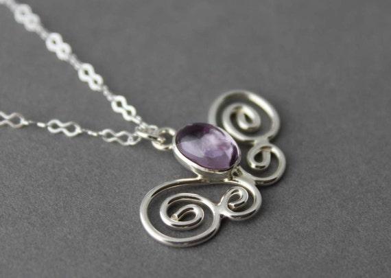 Sterling and Lavender Amethsyt Necklace - Fluttering Butterfly