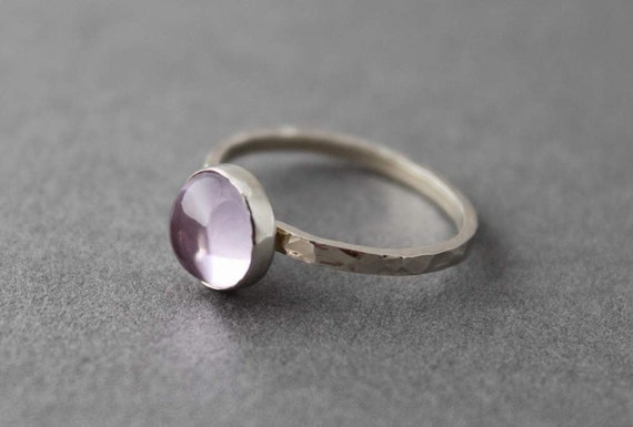 Sterling and Pink Amethyst Ring - Size 7