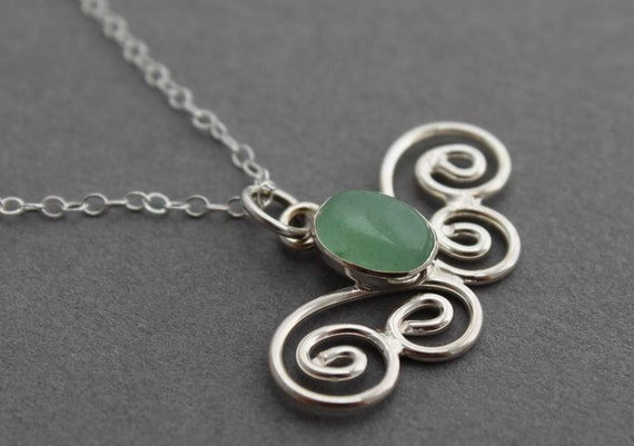 Sterling Aventurine Butterfly Necklace - Handmade