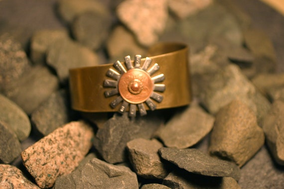 Sunburst Riveted Brass Cuff - Trinidad