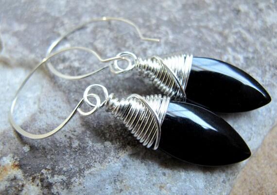 Black Glass Wire Wrapped Earrings on Handmade Earwires