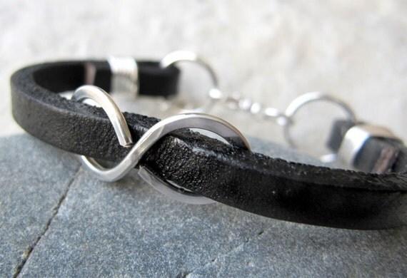 Through Infinity - Black Leather Infinity Bracelet