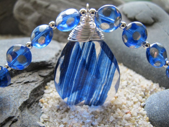 Blue Skies - Bright Blue Sand Quartz, Blue Crystal, Silver Blue Glass, Beaded Necklace