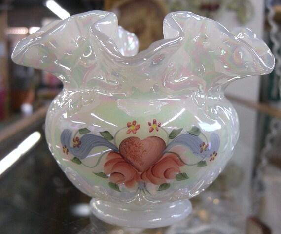 Fenton White Carnival Hand Painted Bowl Vase Ruffled Edge