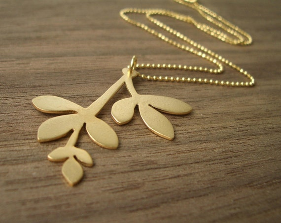 Matte Gold Leaf Necklace