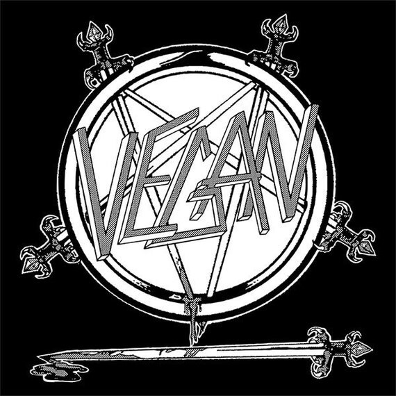 Ready to Ship-T Shirt-VEGAN-Slayer Logo Available in Sizes Small, Medium, Large and XL