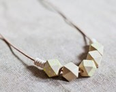 Wooden Boho Necklace / Beige - Neon Necklace / Tribal Necklace