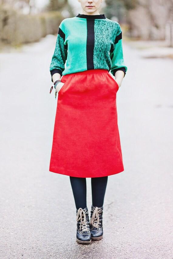 Vintage Red Skirt / High Waist Skirt