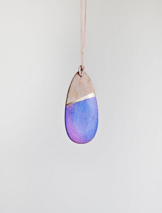 Wooden Boho Necklace / Blue Purple Necklace / SALE