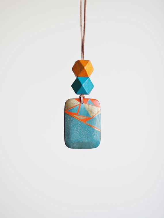 Geometric Necklace / Boho Necklace / Wooden Necklace / Tribal Necklace