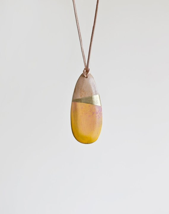 Wooden Boho Necklace / Yellow Necklace / SALE