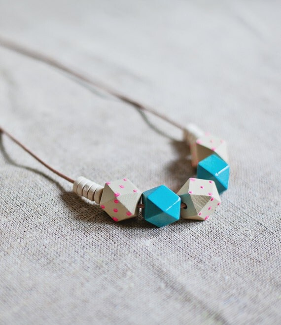 Wooden Boho Necklace / Baby Blue -  Beige - Pink  Necklace / Tribal Necklace