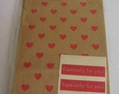 Japanese Brown Paper Gift Bags - Red Hearts With Especially For You Stickers