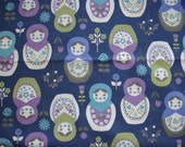 Cute Blue Japanese Cotton Fabric - Large Matryoshka Russian Dolls And Flowers