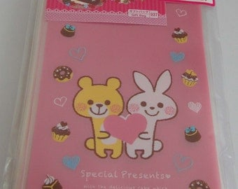 """Cute """"Special Presents"""" Pink Transparent Japanese Cellophane Gift Bags - Bear And Rabbit Holding Heart With Donuts And Chocolates"""