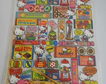 Sanrio Hello Kitty Sweets Design Transparent Japanese Plastic Gift/Party Bags -Large Size- Candy Canes, Chocolate Cookies, Bubblegum, Lolly