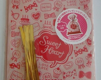 """Cute """"Sweet Heart"""" Pink Japanese Plastic Cellophane Gift / Party Bags With Hearts, Biscuits, Cupcakes And Bows"""