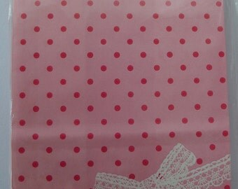 Japanese Paper Gift Bags / Party Bags - Pink Polka Dots With White Lace Bow