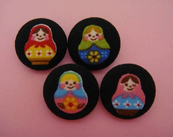 Matryoshka Russian Doll Japanese Fabric Covered Buttons For Sewing - Set of 4