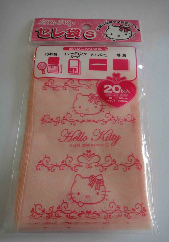Large Sanrio Hello Kitty Transparent Baby Pink Lace Heart Ziplock Resealable Poly Bags - Pack Of 20