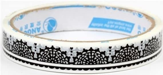 SALE - Cute Japanese Deco Tape - Black Lace On White Background
