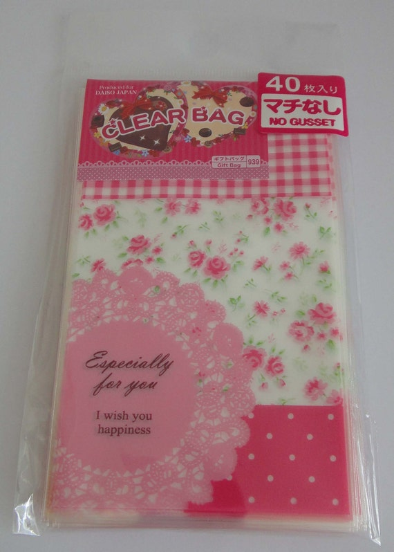 "Cute ""Especially For You"" Transparent Japanese Gift Bags With Lace, Pink Flowers, Check And Polka Dots"