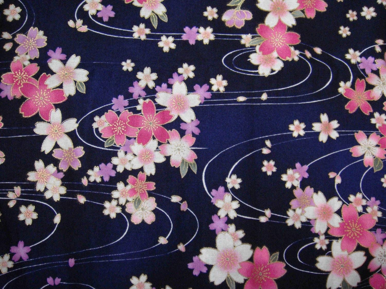 Beautiful Dark Blue Traditional Japanese Kimono Design Cotton