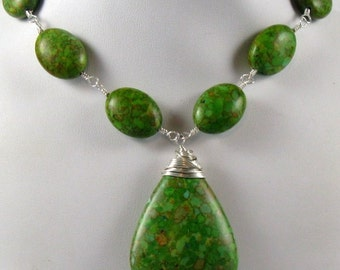 Green Mosaic Turquoise Necklace