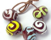Brown  colors - Lampwork beads set - (5)