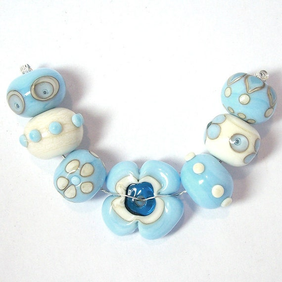 RESERVED for Marina - Ivory and light blue -Lampwork beads set-