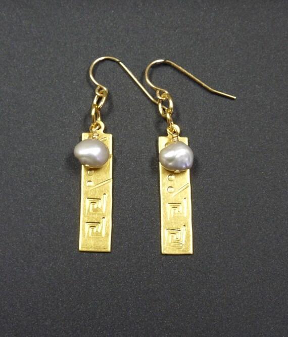 Brass Rectangle Earrings