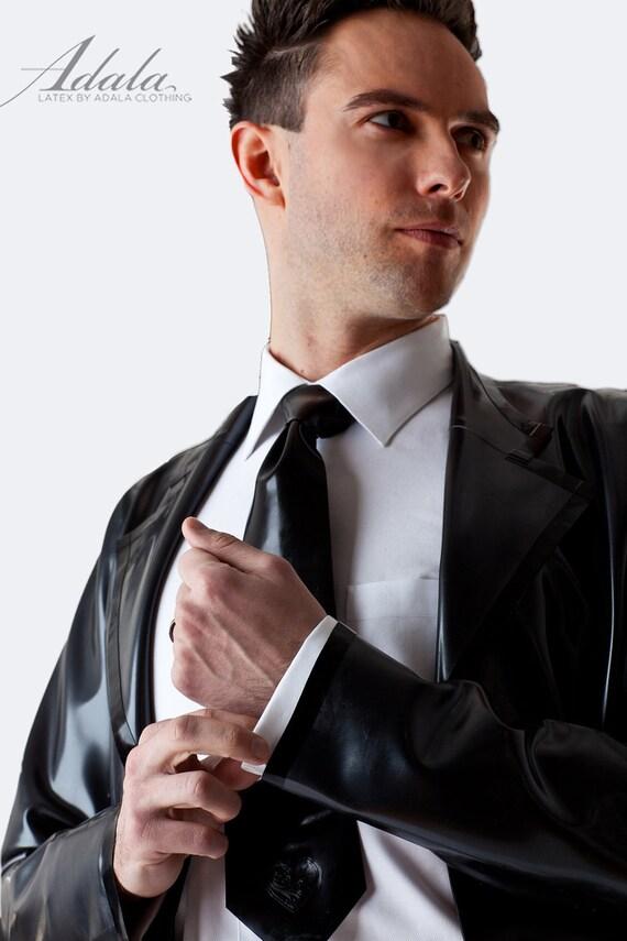 Adala Latex Mens Blazer, Pewter w Black Trim Size 38 SAMPLE