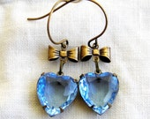 Blue Sapphire Crystal Old Hollywood Style Heart Earrings