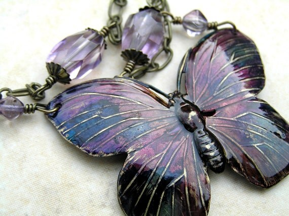 Enameled Purple and Amethyst Gemstone Butterfly Necklace
