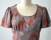 Sunset Floral Blockprinted Cotton Jersey Dress