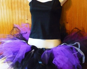 Custom Violet Femmes Trashy Tutu  - SEWN short tulle skirt - for teens and adults - Purple and Black - for parties, bachelorette, running