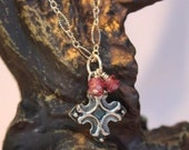 """Rustic Sterling Silver Cross Pendant with Garnet Necklace """"Faith"""""""