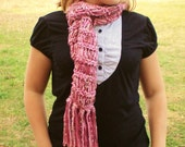 Cranberry and Rose  Drop Stitch Scarf with Fringe