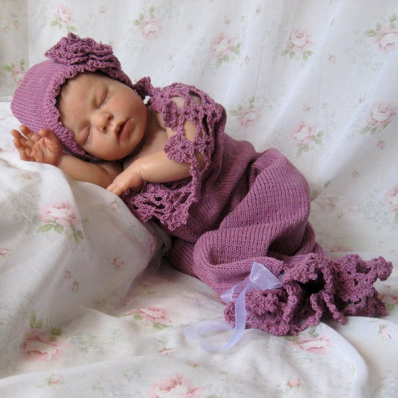 Newborn Baby Lace Hat and Cocoon / Snuggle Sack  in Lavender Cotton Photo Prop