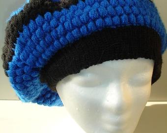 Custom crocheted striped slouchy hat