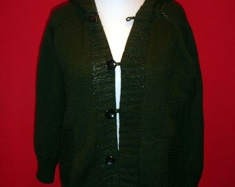 Custom knit cardigan with hood, pockets and buttons for men