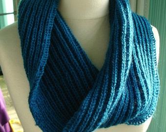 Chunky knit teal cowl - brioche stitch - ready to ship