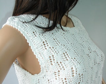 White knit summer lace top - ready to ship