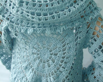 Custom crocheted lace jacket