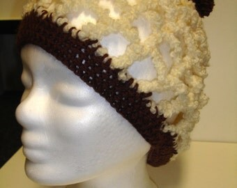 Boucle hat with pom pom - ready to ship