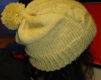 Yellow hat with pom pom - ready to ship