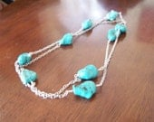 Long long Silver meets turquoise .....  A 54 inch continual necklace