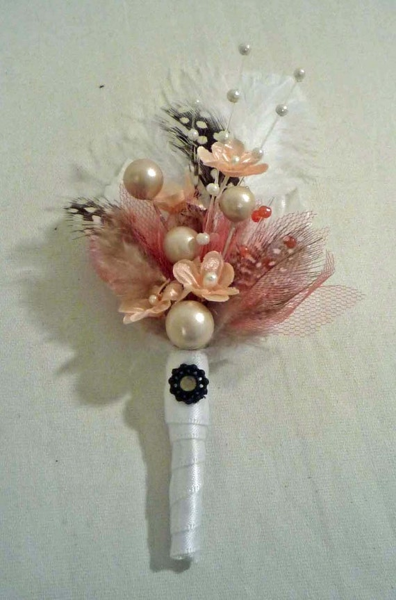 Peach and Coral Boutonniere